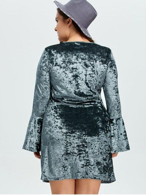 women's Belled Sleeve Plus Size Velvet Dress - GREEN 2XL Mobile