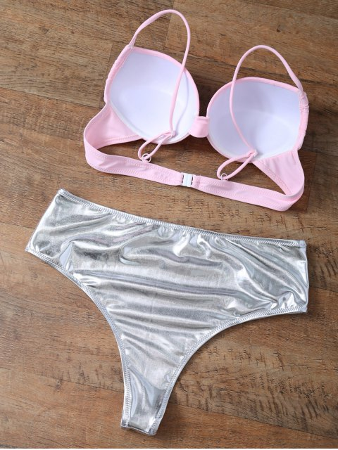 trendy Underwire Bikini Top and Metallic Bottoms - PINK + SILVER M Mobile