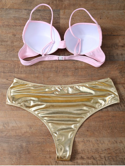 unique Underwire Bikini Top and Metallic Bottoms - GOLD AND PINK M Mobile