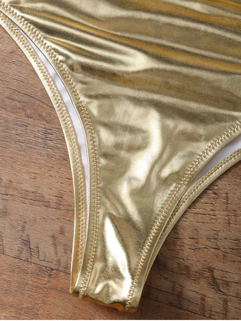 affordable Underwire Bikini Top and Metallic Bottoms - GOLD AND PINK XS Mobile
