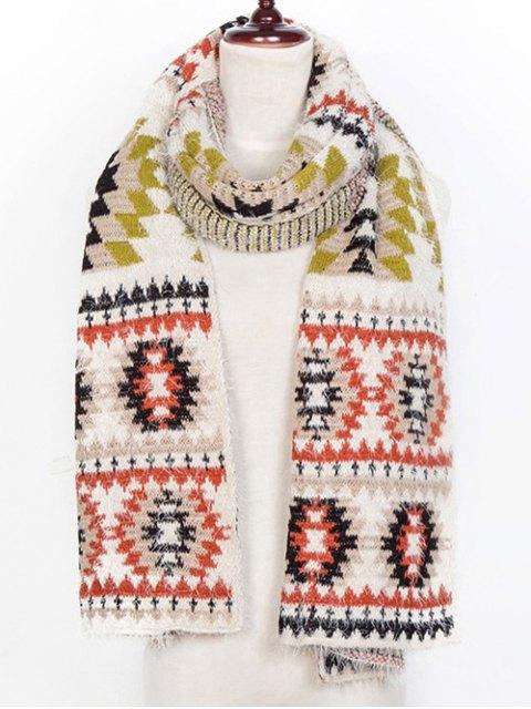 womens Snowflake Pattern Scarf - BEIGE  Mobile