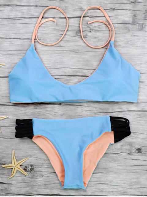 sale Strappy Color Block Bikini Set - BLUE L Mobile