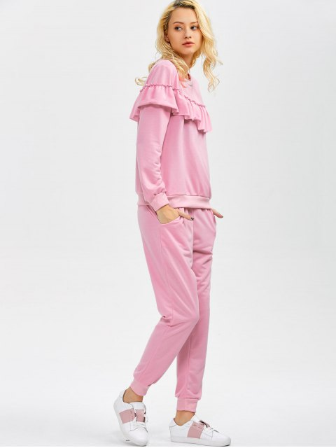 unique Flounced Sweatshirt and Jogger Pants - PINK L Mobile