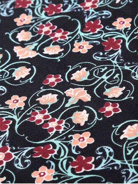 ladies Floral Pattern Tassel Pendant Scarf - BLACK  Mobile