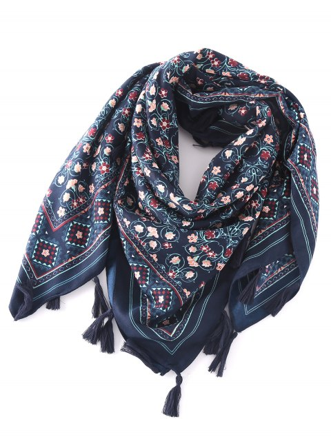 lady Floral Pattern Tassel Pendant Scarf - CADETBLUE  Mobile