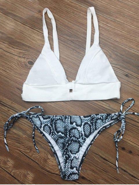 buy Cami String Abstract Bikini Set - WHITE XL Mobile