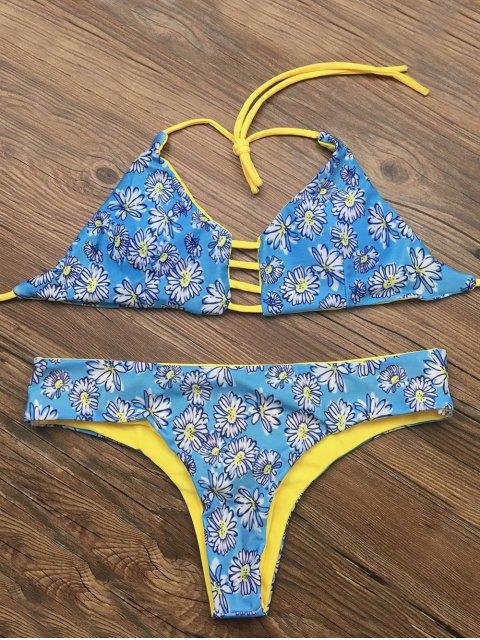 best Halter Cut Out Floral Bikini Set - BLUE M Mobile