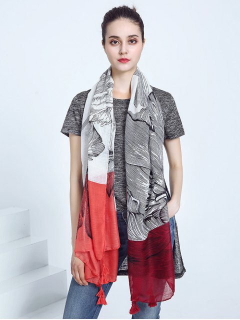 outfit Voile Eagle Print Color Block Tassel Scarf - RED  Mobile