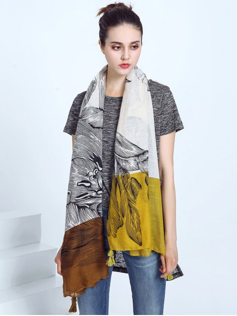 outfits Voile Eagle Print Color Block Tassel Scarf - YELLOW  Mobile