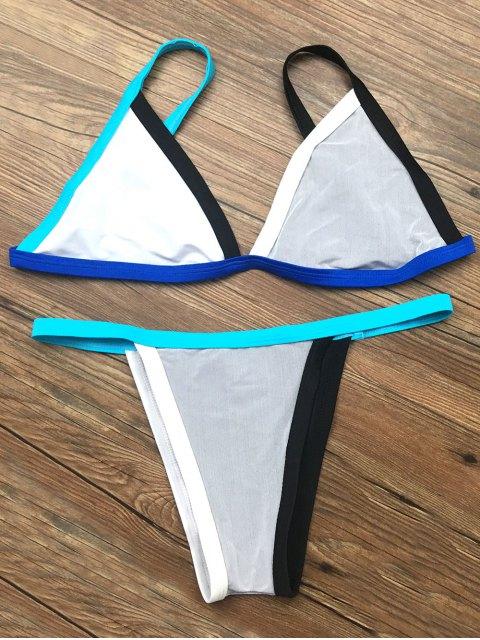fancy Unlined Color Block Bikini Set - GRAY M Mobile