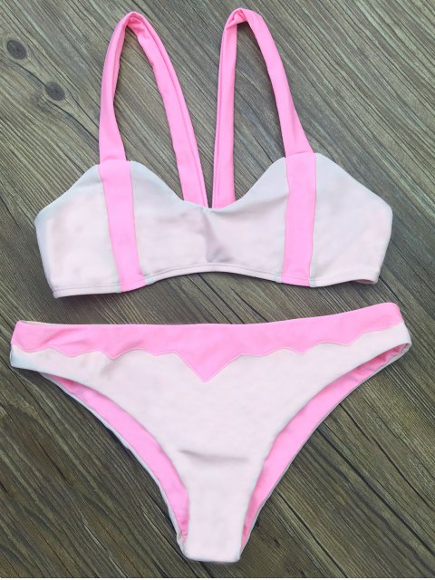 buy Scalloped Color Block Bikini Set - LIGHT PINK M Mobile