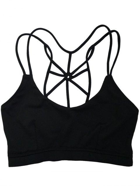 trendy Spaghetti Strap Criss Cross Padded Sports Bra - BLACK L Mobile