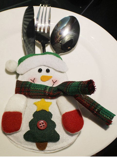 outfits Christmas Snowman Tableware Cover Bag -   Mobile