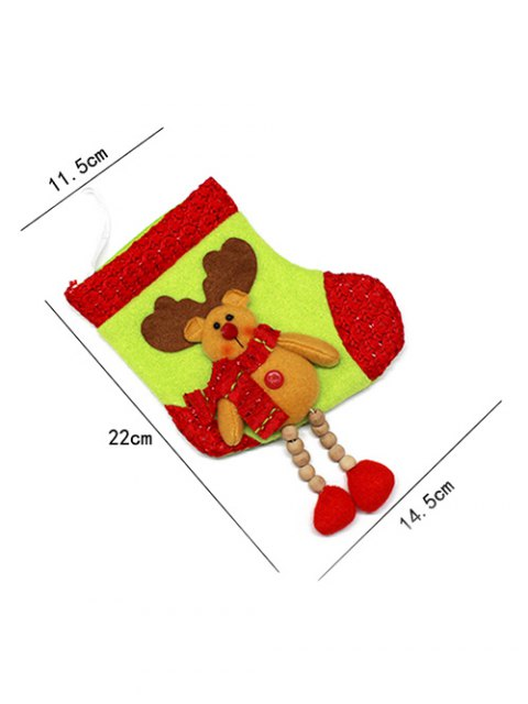 womens Christmas Deer Pattern Hanging Santa Present Sock -   Mobile