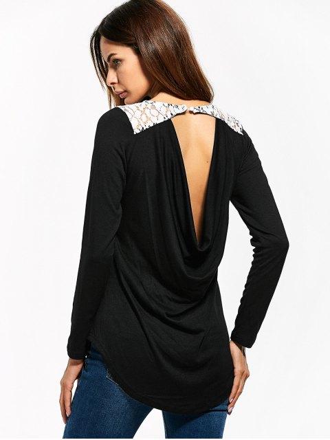 unique Lace Panel Cut Out T-Shirt - BLACK M Mobile