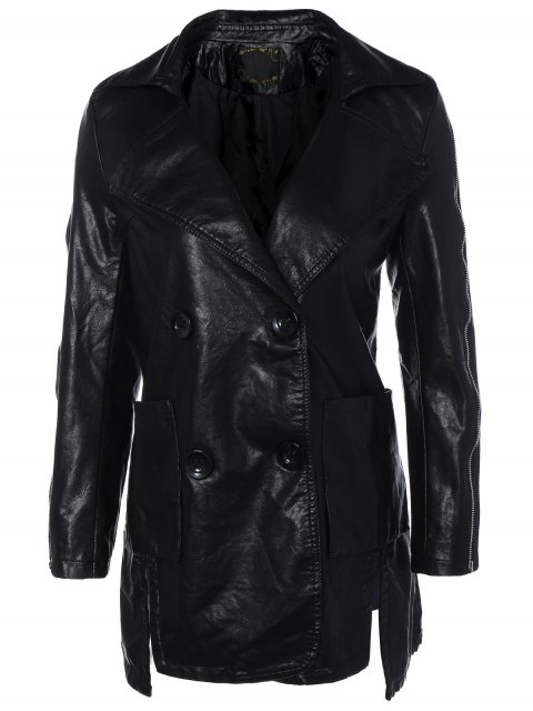 fancy Lapel Collar Double Breasted PU Leather Coat - BLACK M Mobile