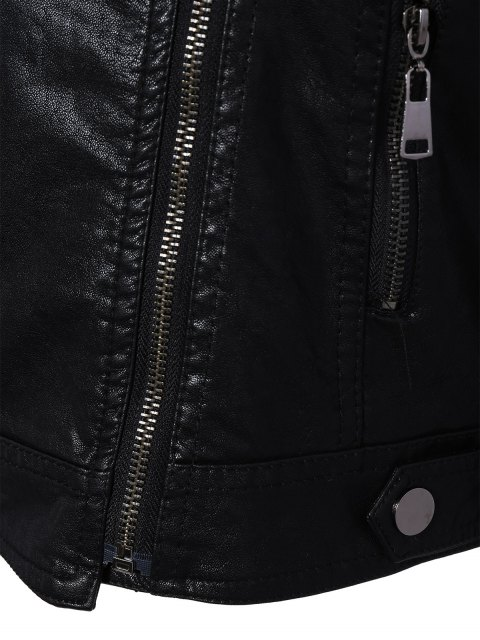 shop Zipper Pocket PU Leather Biker Jacket - BLACK M Mobile