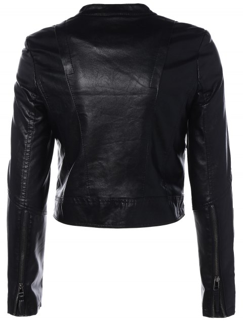 trendy Inclined Zippered PU Leather Biker Jacket - BLACK M Mobile