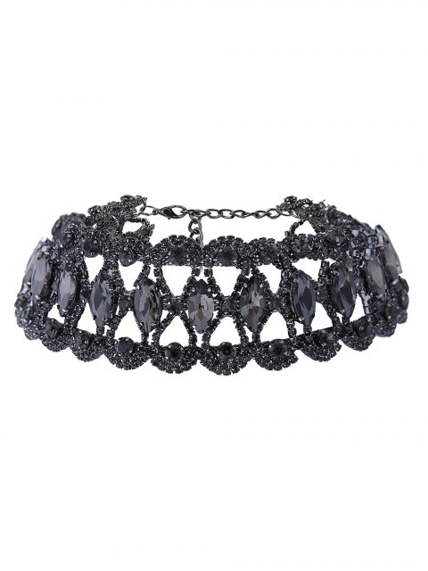 fashion Hollow Out Faux Gem Necklace - BLACK  Mobile
