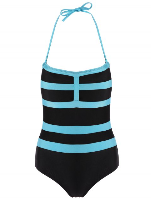 new Halter Sleeveless Color Block One-Piece Swimwear - BLACK L Mobile