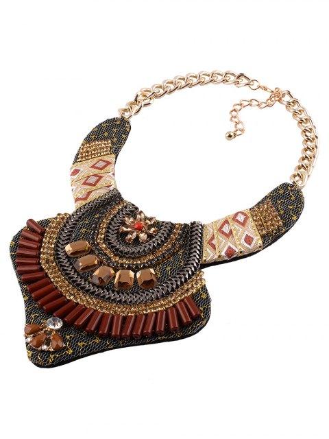 ladies Vintage Rhinestone Alloy Flower Necklace - COFFEE  Mobile