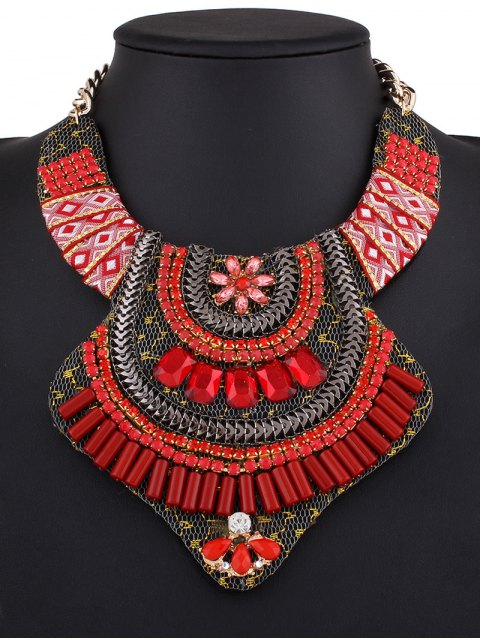 best Vintage Rhinestone Alloy Flower Necklace - RED  Mobile