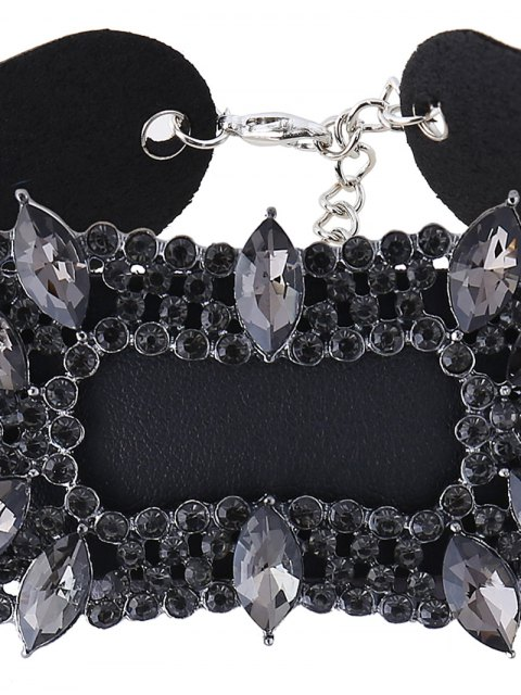 new Artificial Leather Rhinestoned Choker Necklace - BLACK  Mobile