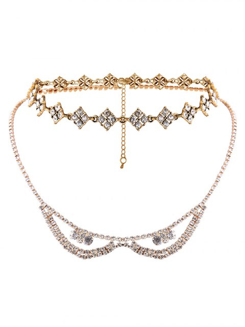 sale Alloy Rhinestone Layered Necklace - GOLDEN  Mobile
