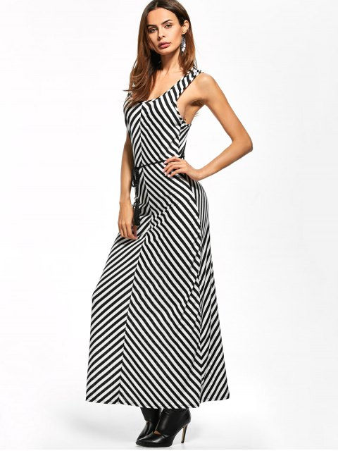 outfit Striped Racerback Maxi Tank Dress - STRIPE S Mobile