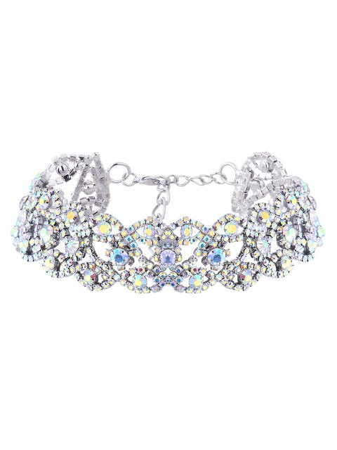 outfits Hollowed Rhinestone Necklace - SILVER  Mobile