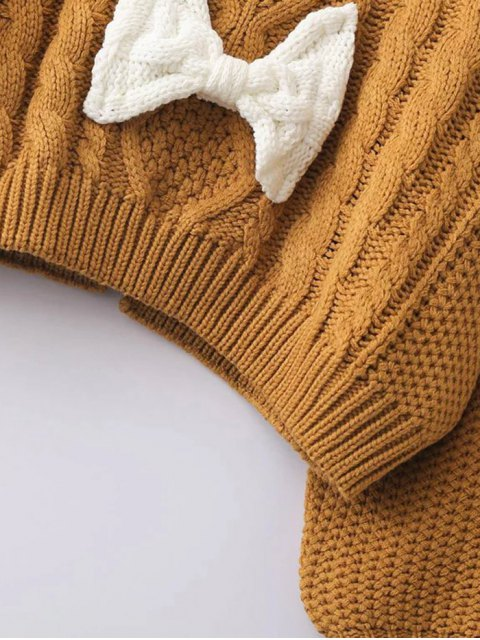 trendy Cable Knit Patched Sweater - GREEN ONE SIZE Mobile