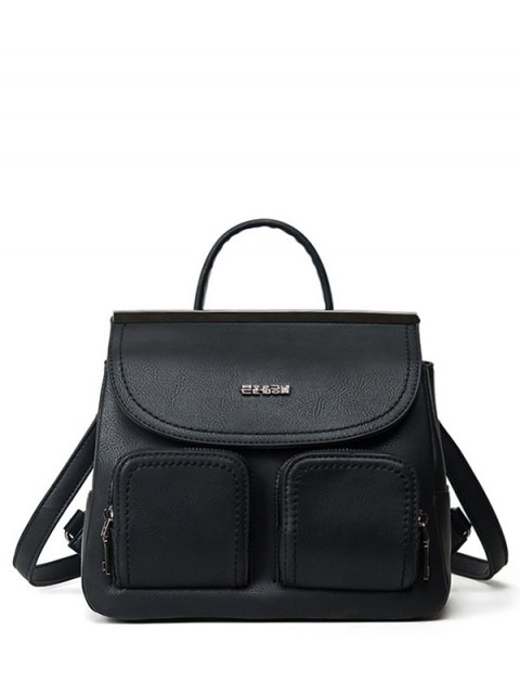 sale Stitching Pockets Metal Trimmed Backpack - BLACK  Mobile