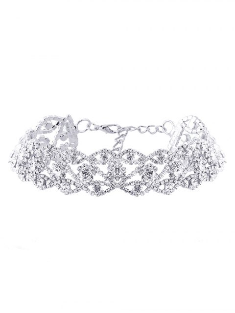 shop Hollow Out Rhinestone Necklace - SILVER  Mobile