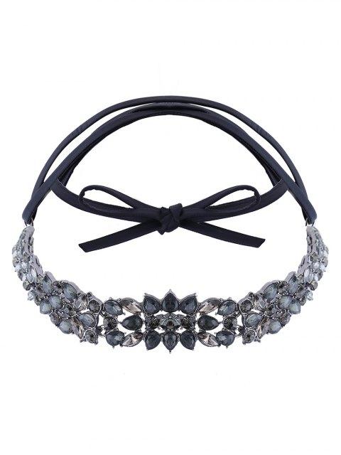 latest Faux Leather Rhinestone Necklace - BLACK  Mobile