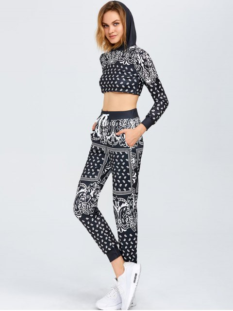 fancy Printed Cropped Hoodie with Pants Gym Suit - BLACK S Mobile