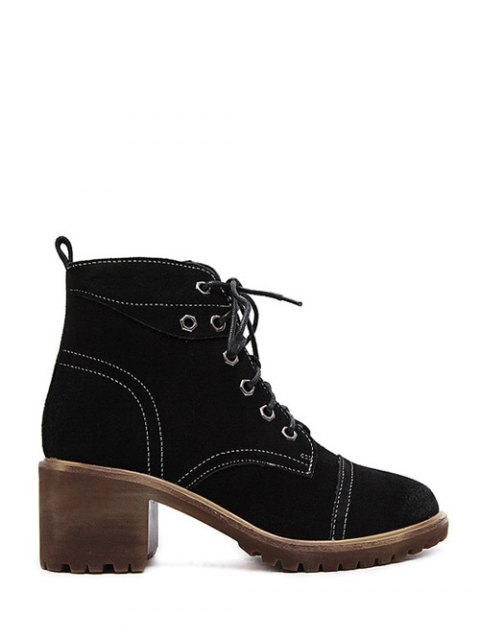 unique Eyelets Chunky Heel Combat Boots - BLACK 39 Mobile