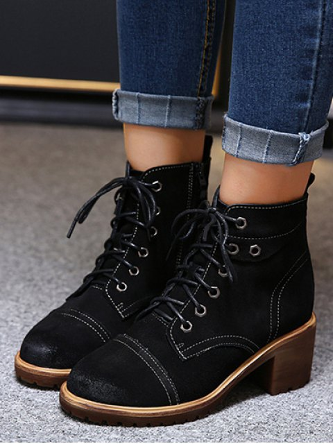 affordable Eyelets Chunky Heel Combat Boots - BLACK 38 Mobile