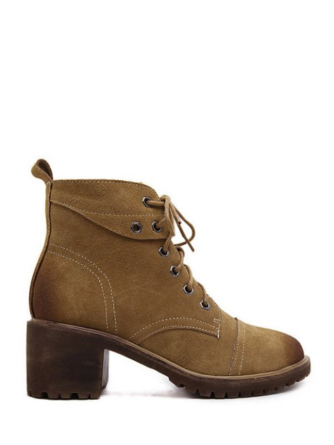 womens Eyelets Chunky Heel Combat Boots - BROWN 37 Mobile
