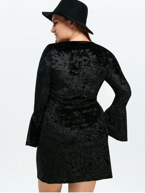 sale Belled Sleeve Plus Size Velvet Dress - BLACK 3XL Mobile