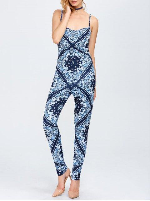 unique Paisley Print Cami Jumpsuit - BLUE S Mobile