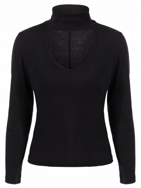 outfits Ribbed Long Sleeve Choker Tee - BLACK L Mobile