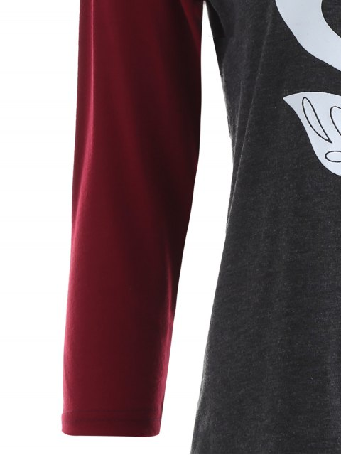 online Raglan Sleeve Graphic Christmas Tee - GRAY AND RED L Mobile