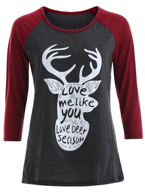 T-shirt imprimé noël graphique à manches raglan - Gris et Rouge S Mobile