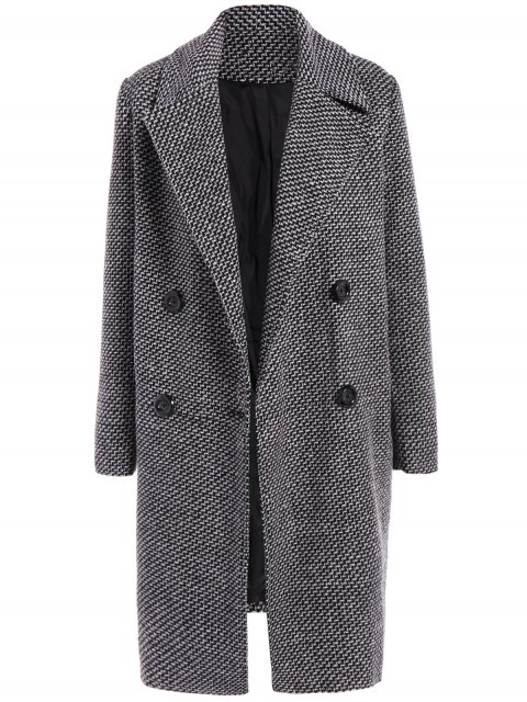 lady Fitting Checked Wool Coat - BLACK M Mobile