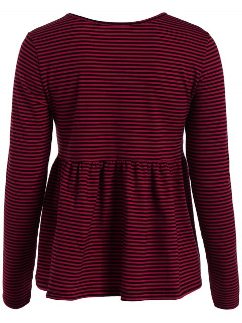 sale Striped Long Sleeve Smock T-Shirt - RED 2XL Mobile