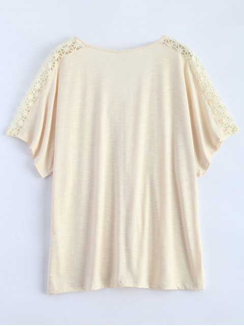 hot Tassel V Neck Crochet Panel T-Shirt - OFF-WHITE XL Mobile