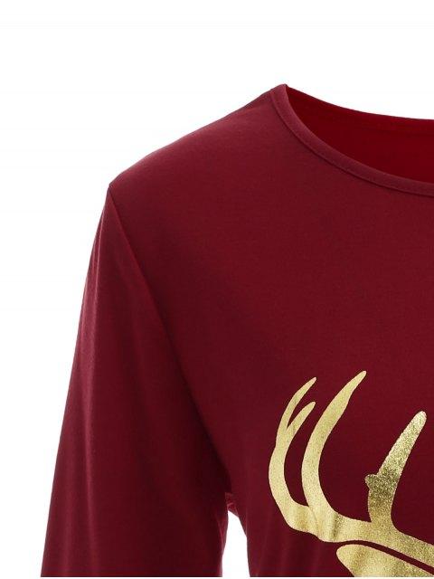new Reindeer Christmas Tee Dress - BURGUNDY L Mobile