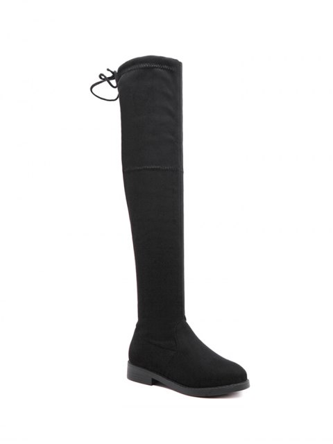 new Flat Heel Thigh High Boots - BLACK 38 Mobile