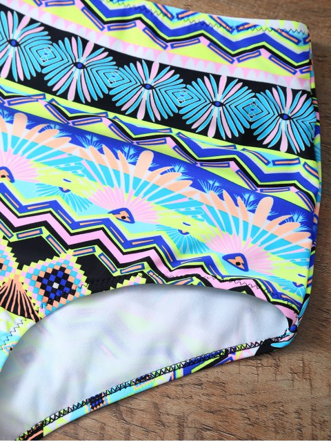 womens High Rise Printed Halter Bikini Set - MULTICOLOR L Mobile