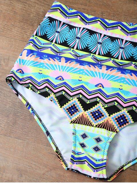 women High Rise Printed Halter Bikini Set - MULTICOLOR M Mobile
